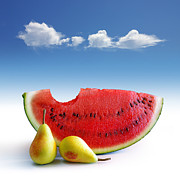 Watermelon Photo Posters - Pears and Melon Poster by Carlos Caetano