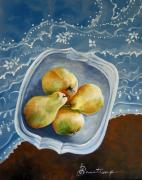 Tabletop Framed Prints - Pears and Pearls Framed Print by Denise Armstrong
