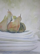 Stoneware Paintings - Pears and Plates by Sandra Strohschein