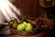 Wicker Basket Prints - Pears at the Old Farm Market Print by Olivier Le Queinec