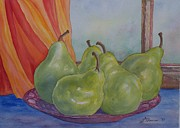 Pears At The Window Print by Laurel Thomson