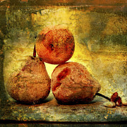 Aging Photo Prints - Pears Print by Bernard Jaubert