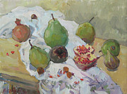 Drapery Framed Prints - Pears Figs and Young Pomegranates Framed Print by Juliya Zhukova