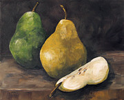 Pear Painting Acrylic Prints - Pears Green and Gold Acrylic Print by Torrie Smiley