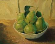 Robert Lewis Prints - Pears in a White Bowl Print by Robert Lewis