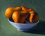 Frank Wilson Framed Prints - Pears in Blue Bowl Framed Print by Frank Wilson