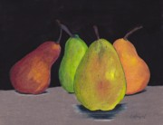 Gold Drawings Prints - Pears In Colors Print by Lea Velasquez