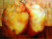 Abstracted Paintings - Pears in Love by Nadine Dennis