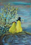 Couples Paintings - Pears in love by Rachel Asherovitz