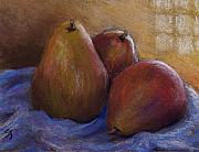 Fruit Still Life Pastels Framed Prints - Pears in Natural Light Framed Print by Susan Jenkins