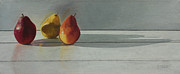 Fruit Still Life Framed Prints - Pears Long Shadow Framed Print by Nancy Teague