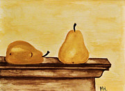Painted Food Prints - Pears on the Mantle Print by Marsha Heiken