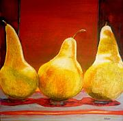 Food And Beverage Mixed Media Posters - Pears Poster by Sandrine Pelissier