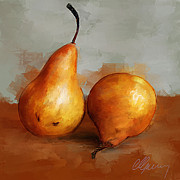 Fruit Still Life Mixed Media Posters - Pears Still Life Poster by Michael Greenaway