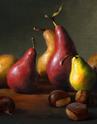 Still Life Painting Framed Prints - Pears with Chestnuts Framed Print by Robert Papp