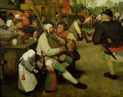 Village Scene Paintings - Peasant Dance by Pieter the Elder Bruegel