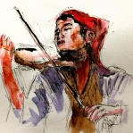 Abstract Wildlife Paintings - Peasant violinist by Steven Ponsford