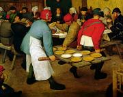 Wooden Metal Prints - Peasant Wedding Metal Print by Pieter the Elder Bruegel