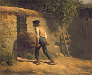 Laborer Framed Prints - Peasant with a Wheelbarrow Framed Print by Jean-Francois Millet