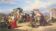 Crowds Paintings - Peasants of the Campagna by Robert Alexander Hillingford