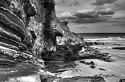 Sandstone Beach Framed Prints - Pease Bay Scotland BW Framed Print by Paul Prescott