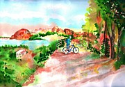 Bicycles Paintings - Peavine Trail Prescott Arizona by Sharon Mick
