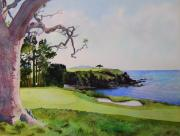 Us Open Painting Framed Prints - Pebble Beach gc 5th hole Framed Print by Scott Mulholland