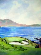 Us Open Painting Framed Prints - Pebble Beach gc 7th hole Framed Print by Scott Mulholland