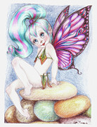 Pebbles Drawings Posters - Pebble Fairy  Poster by Mary Rose Pace