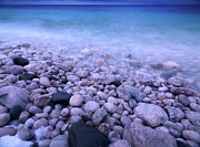 Georgian Landscape Photos - Pebble shore of Georgian Bay in winter by Oleksiy Maksymenko