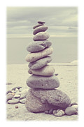 Rocks Metal Prints - Pebble Tower Metal Print by Mal Bray