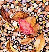 Red Leaves Pastels Acrylic Prints - Pebbles and Leaves Acrylic Print by Jan Amiss