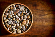 Wooden Bowl Photos - Pebbles in Wood Bowl by Olivier Le Queinec