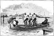 Bicyclists Posters - Pedal-powered Boat, 19th Century Poster by