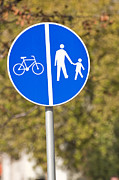 Crosswalk Framed Prints - Pedestrian and bicycle crossing sign. Framed Print by Fernando Barozza