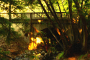 Cal Bear Metal Prints - Pedestrian Bridge And Strawberry Creek  . 7D10132 . Painterly Metal Print by Wingsdomain Art and Photography
