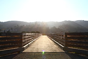 Wood Bridges Metal Prints - Pedestrian Bridge At Martinez Regional Shoreline Park in Martinez California . 7D10534 Metal Print by Wingsdomain Art and Photography