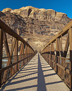 Rock Face Posters - Pedestrian Bridge With a Rocky Background Poster by Thom Gourley/Flatbread Images, LLC