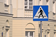 Crosswalk Framed Prints - Pedestrian crossing sign. Framed Print by Fernando Barozza