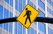 Crosswalk Photos - Pedestrian Crosswalk Sign in Business District by Gary Whitton