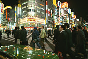 Honshu Framed Prints - Pedestrians Cross A Crowded Tokyo Framed Print by Justin Guariglia