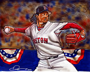 Mlb Drawings Prints - Pedro Martinez Print by Dave Olsen