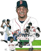 Red Sox Drawings - Pedro Martinez by Neal Portnoy