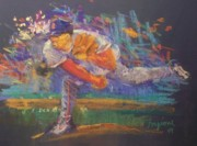 Red Sox Pastels Prints - Pedro Print by Tom Forgione