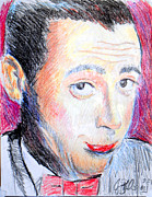Character Portraits Drawings Metal Prints - Pee Wee Herman  Metal Print by Jon Baldwin  Art