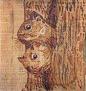 Trees Pyrography Originals - Peek A Boo by Margaret G Calenda