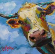 Moo Moo Paintings - Peek a Moo by Claire Kayser