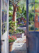 French Door Paintings - Peek into the Courtyard by Sue Zimmermann