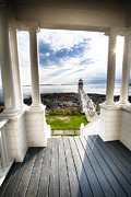 New England Lighthouse Prints - Peek Out to Sea Print by George Oze