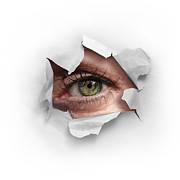 Torn Prints - Peek Through a Hole Print by Carlos Caetano